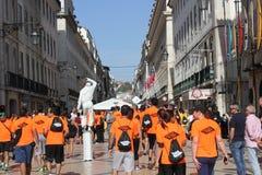 Teilnehmer an Lissabon-Marathon Lizenzfreie Stockfotos
