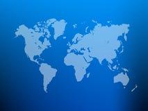 Teils transparentes Weltkarteschattenbild auf blauem Steigungsmaschenhintergrund Auch im corel abgehobenen Betrag Lizenzfreies Stockfoto