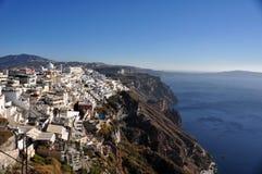 Teilweise Ansicht von Fira und Kessel von Santorini-Insel Griechenland Lizenzfreie Stockfotos