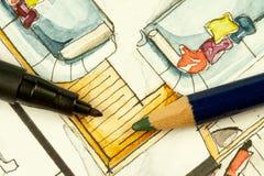 Teilweises Immobilienillustrationsbildmaterial des Wohnzimmergrundrisses mit Sofas, Kissen, Werkzeuge schreibend Stockfotografie