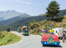 Teisseire Caravan on a Cobblestone Road- Tour de France 2015 Royalty Free Stock Images