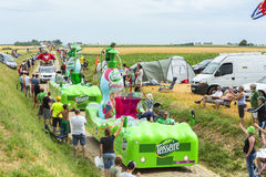 Teisseire Caravan on a Cobblestone Road- Tour de France 2015 Stock Image