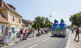 Teisseire Caravan - Tour de France 2015. Sainte Marguerite sur Mer, France - July 09, 2015: Teisseire Caravan during the passing of Publicity Caravan before the stock images