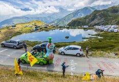 Teisseire husvagn i fjällängar - Tour de France 2015 Fotografering för Bildbyråer