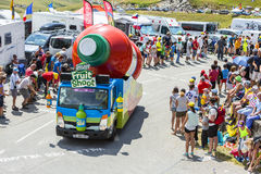 Teisseire Vehicle in Alps - Tour de France 2015 Stock Photo
