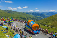 Teisseire Vehicle - Tour de France 2014. Col de Peyresourde,France- July 23, 2014: Teisseire vehicle during the passing of the Publicity Caravan on the road to Royalty Free Stock Photography
