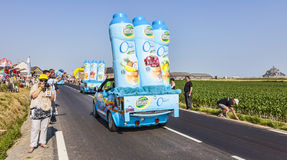 Teisseire Vehicles. Ardevon, France- July 10, 2013: Teisseire vehicles during the passing of the publicity caravan in the stage 11 of the edition 100 of Le Tour Royalty Free Stock Photo