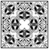 Teja blanco y negro del vintage con incluso el ornamento distribuido geométrico Art Deco Patterns Adorno simétrico del vector Fotos de archivo