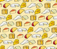 Fondo inconsútil del queso de la historieta Fotografía de archivo