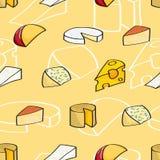 Fondo inconsútil del queso de la historieta Imagen de archivo libre de regalías