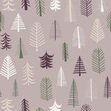 Teja inconsútil del modelo de los árboles de navidad de la repetición Árboles púrpuras, verdes, marrones, blancos del garabato Fo ilustración del vector