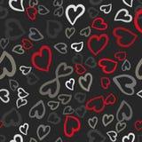Teja inconsútil del vector de los corazones rojos y grises Fondo del día de tarjetas del día de San Valentín Textura caótica sin  Fotografía de archivo