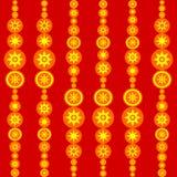 Teja roja retra del amarillo anaranjado con los soles estilizados Imagen de archivo libre de regalías
