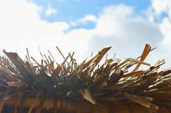 Tejado cubierto con paja con un cielo azul en el fondo Fotos de archivo libres de regalías