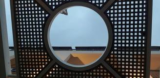 Tejado de madera que guarda del sol con el agujero redondo en el centro imagenes de archivo