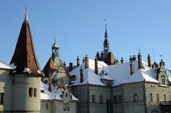 Tejado del castillo romántico medieval del estilo, Ucrania occidental Imagenes de archivo