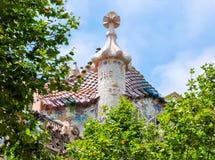 Tejado del edificio de Battlo de la casa, Barcelona, España Imagen de archivo