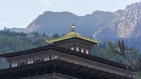 Tejado del ` s de Tashichho Dzong, del gobierno y oficina del ` s del rey Reino de Bhután Imágenes de archivo libres de regalías