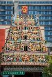 Tejado del templo de Sri Veeramakaliamman en la poca India, Singapur Fotografía de archivo libre de regalías
