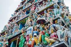 Tejado del templo de Sri Veeramakaliamman en la poca India, Singapur Imagenes de archivo
