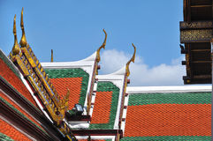 tejado del templo de Wat Phra Kaew Grand Palace Foto de archivo