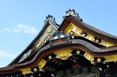 Tejado, palacio de Ninomaru, castillo de Nijo, Kyoto, Japón, detalle Fotografía de archivo libre de regalías