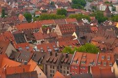 Tejados anaranjados en Nuremberg Imágenes de archivo libres de regalías