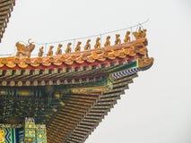 Tejados chinos en la ciudad Prohibida Pekín Foto de archivo