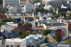 Tejados de casas islandesas en Reykjavik Fotografía de archivo libre de regalías