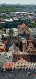 Tejados de la ciudad vieja, Lviv Foto de archivo