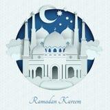 Tejados de las mezquitas del papel con las sombras largas Ejemplo del fondo del vector del Islam stock de ilustración