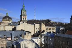 Tejados de Lviv fotos de archivo libres de regalías