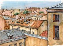 Tejados de St Petersburg ilustración del vector