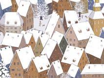 Tejados debajo de la nieve ilustración del vector