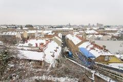 Tejados funiculares y céntricos de Zagreb cubiertos con la nieve 2888 foto de archivo
