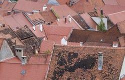 Tejados viejos de la ciudad desde arriba Fotografía de archivo libre de regalías
