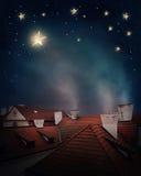 Tejados y cielo nocturno Foto de archivo libre de regalías