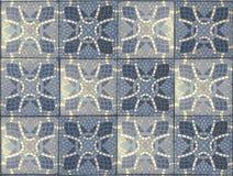 Tejas clásicas portuguesas reales de la pared en tonos azules Fotografía de archivo