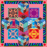 Tejas coloridas del vintage con los modelos florales y geométricos Imagen de archivo