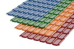 Tejas de tejado coloreadas, representación 3D Fotos de archivo