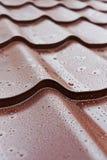 Tejas de tejado del metal de Brown Imagen de archivo libre de regalías
