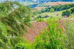 Tejas de tejado en el campo de Romagna en Italia Fotografía de archivo