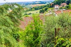 Tejas de tejado en el campo de Romagna en Italia Imágenes de archivo libres de regalías