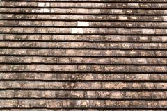 Tejas de tejado viejas de la arcilla con el molde y las algas fotografía de archivo
