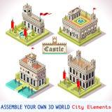 Tejas del castillo 02 isométricas Foto de archivo