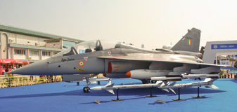 Tejas on display at Aero India Show 2013 at Bangal. Tejas- indias first indigenously designed and developed Light Combat Aircraft on display at Aero India Show Royalty Free Stock Photography