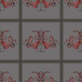 Tejas gris oscuro del modelo inconsútil con el ornamento floral del vintage en el centro ilustración del vector