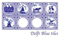 Tejas holandesas azules de la cerámica de Delft con las imágenes populares Fotografía de archivo