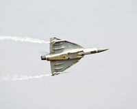 Tejas, the Light Combat Aircraft flying at Aero India Show 2013. Stock Images