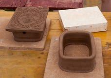 Tejas medievales de cerámica Imagen de archivo libre de regalías